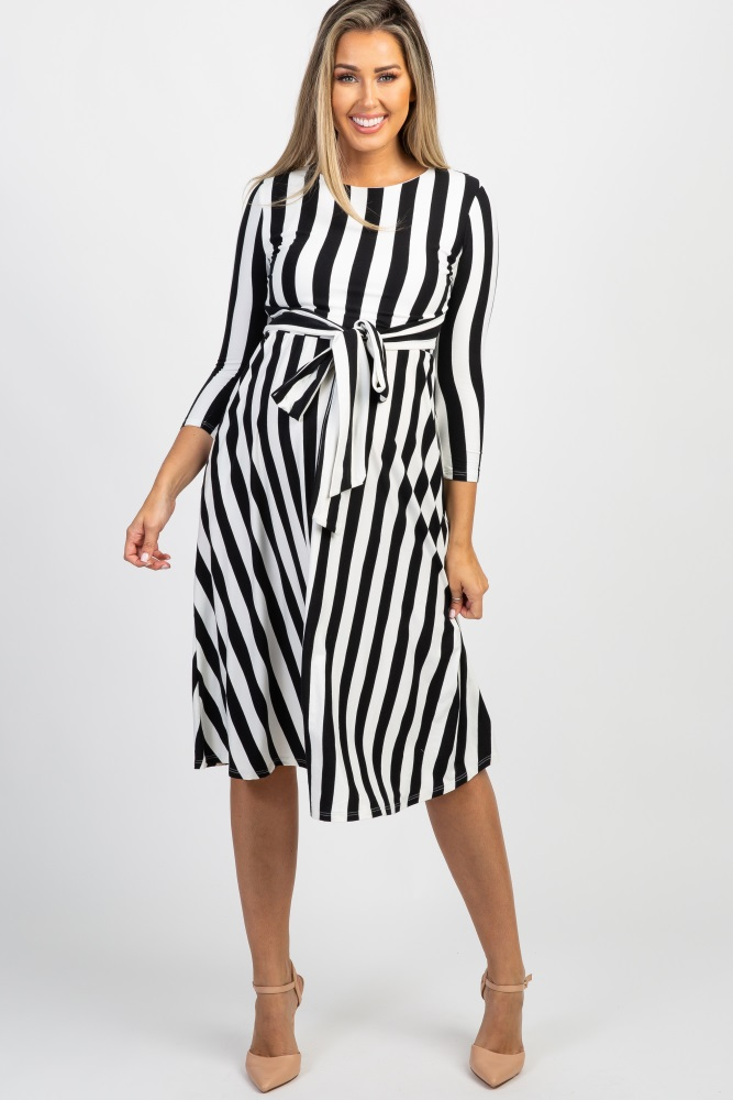da7817af95a57 Black Striped Tie Front Maternity Midi Dress