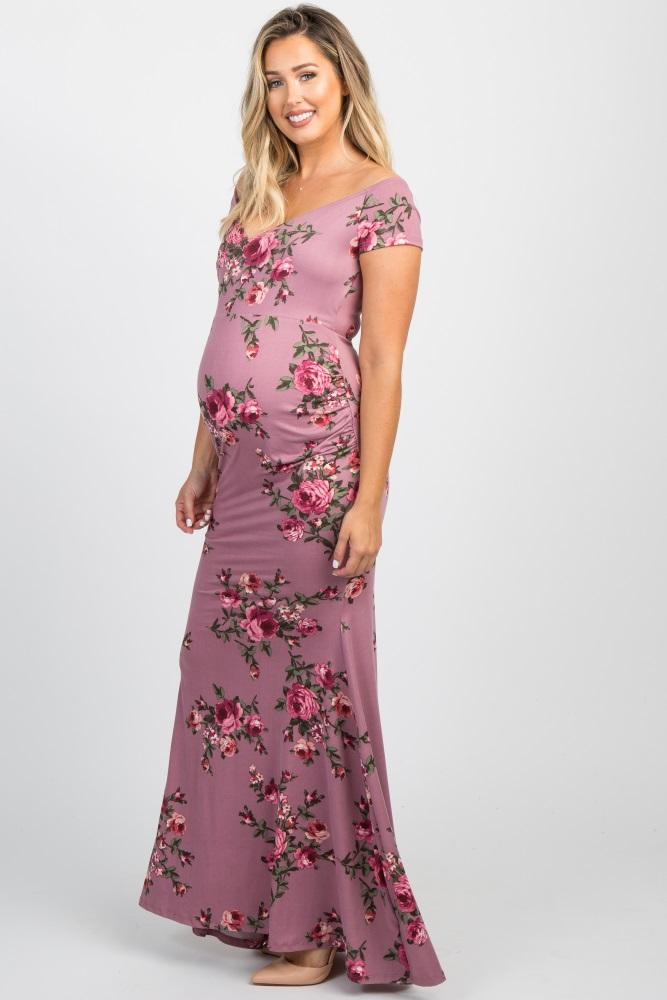 10a1768bbf4 Mauve Floral Off Shoulder Wrap Maternity Photoshoot Gown Dress