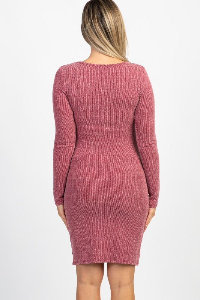 a2cecaf85fa Burgundy Ribbed Ruched Long Sleeve Maternity Dress
