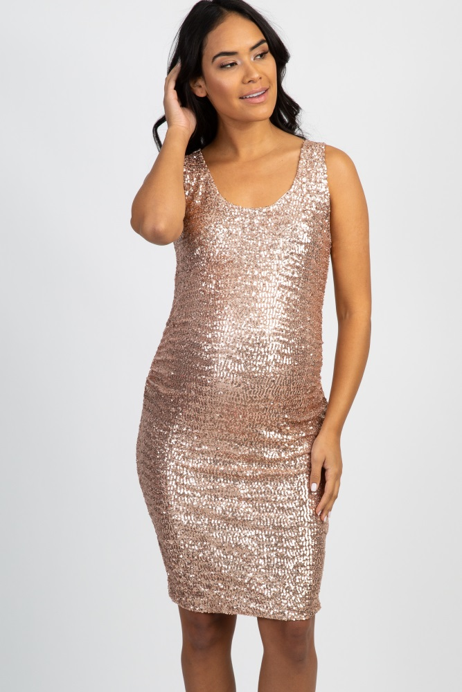 928a6445c3adb Rose Gold Sequin Fitted Maternity Dress