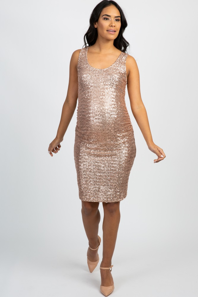 rose gold sequin fitted maternity dress