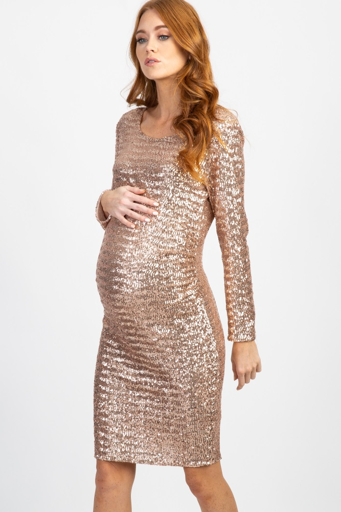 e1be5b477b8f0 Gold Sequined Long Sleeve Maternity Dress
