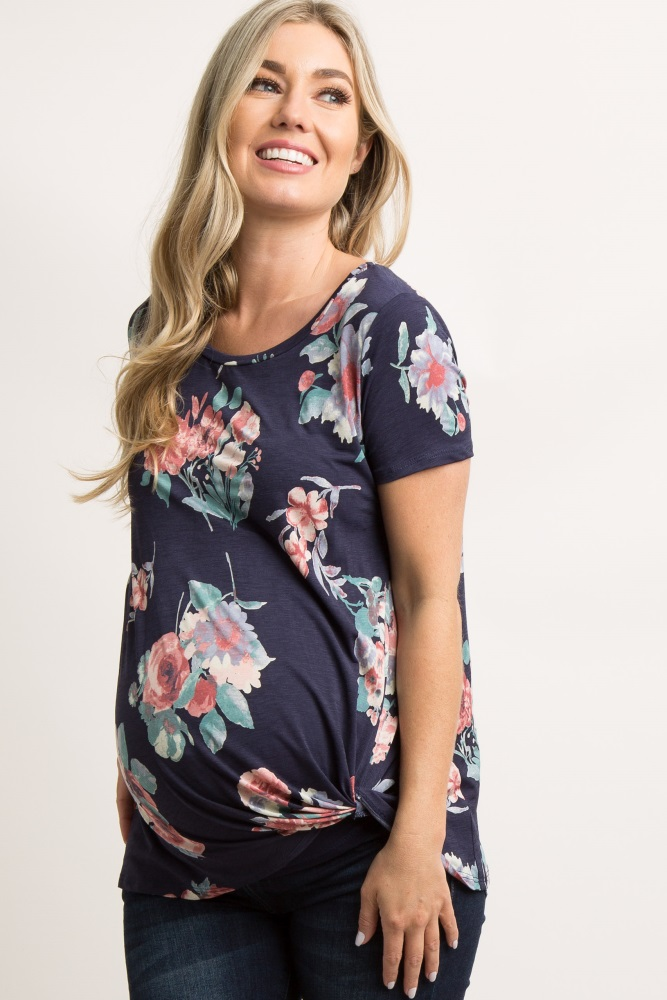 3ba14c895b258 Navy Blue Floral Knot Hem Maternity Top