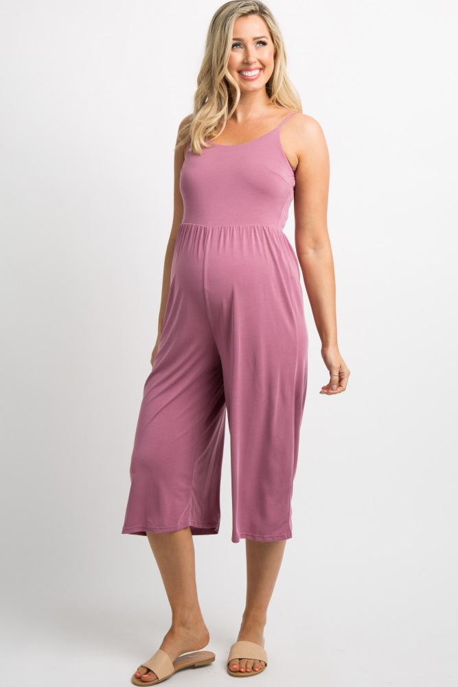 cde2d60a43e8 Mauve Cropped Maternity Cami Jumpsuit