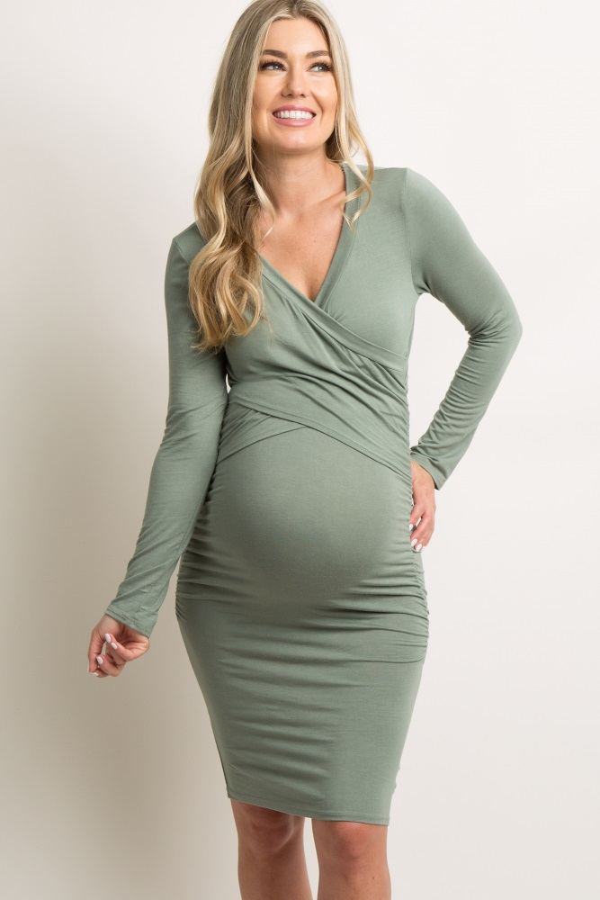 368d8ef091b Green Cross Front Fitted Maternity/Nursing Dress