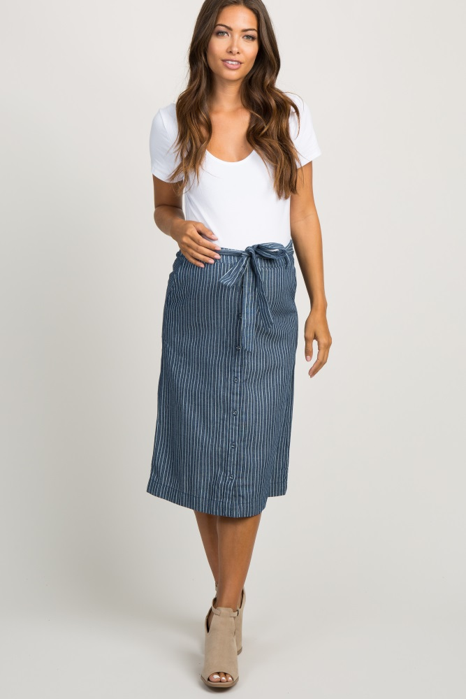 a16748d21be5eb Navy Blue Pinstripe Bow Button Down Maternity Midi Skirt
