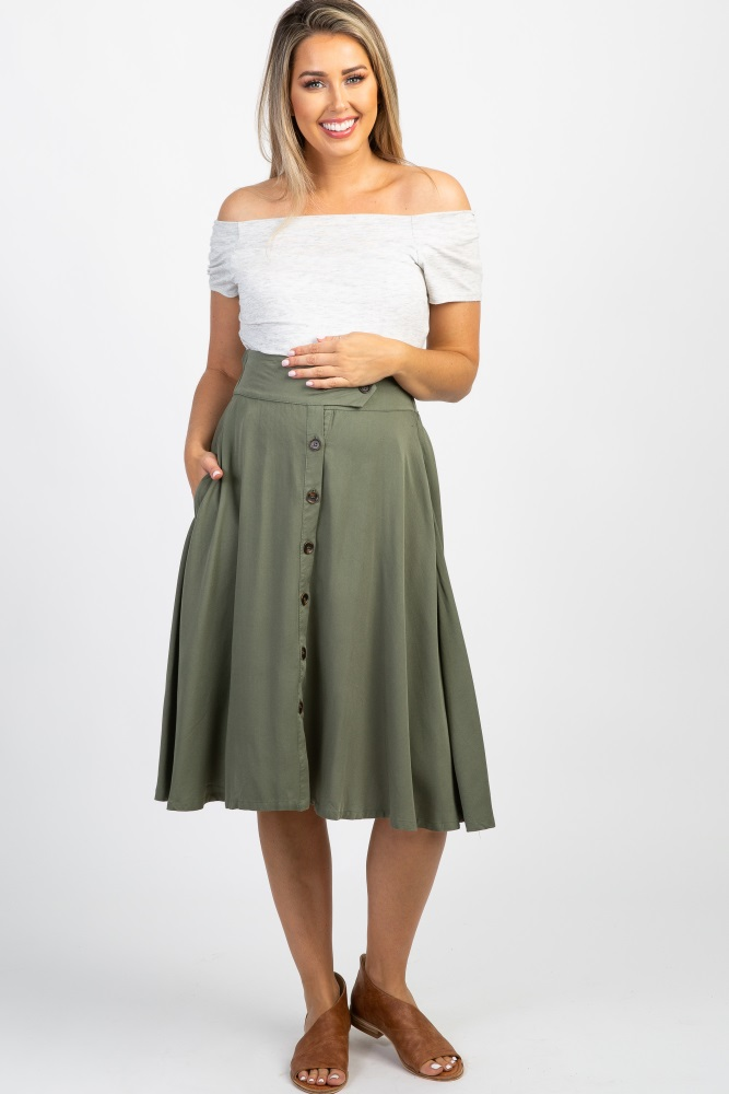 f8e10ddf3a Olive Button Front Maternity Flare Skirt
