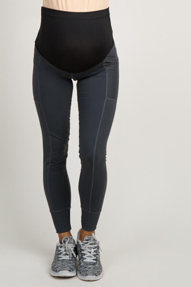 ef6d847da7f78 Grey Mesh Pocket Cuffed Active Maternity Leggings