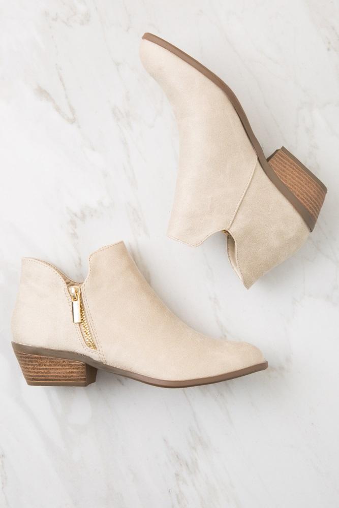 beige faux suede gold zipper boot