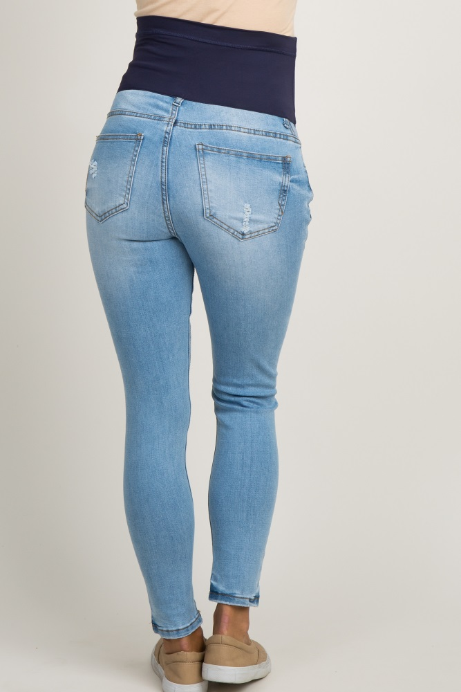 ad5a8bd79d95a Blue Faded Distressed Maternity Skinny Jeans