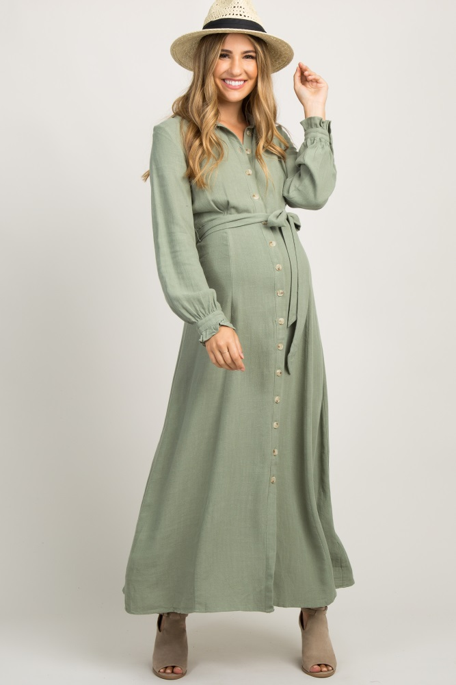 c5c80c526968a Olive Linen Button Up Maternity Maxi Dress