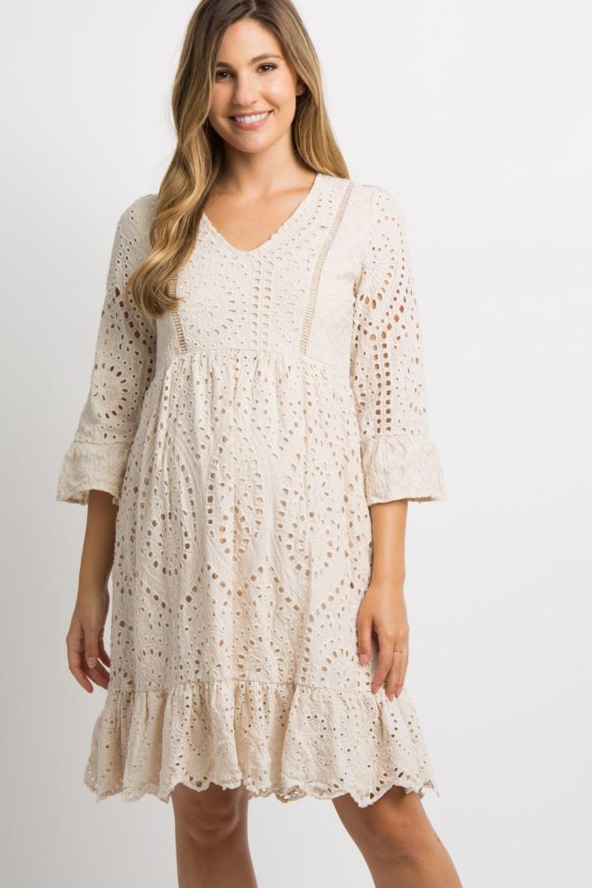 72220c56bc546 Taupe Crochet Overlay Maternity Dress