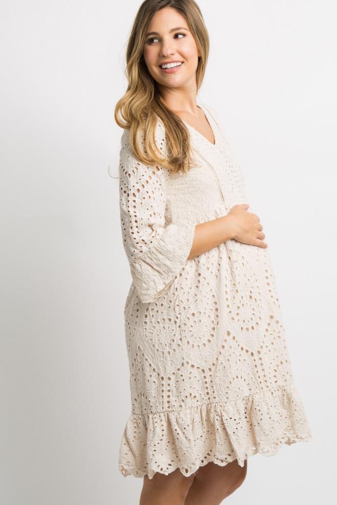 Taupe Crochet Overlay Maternity Dress