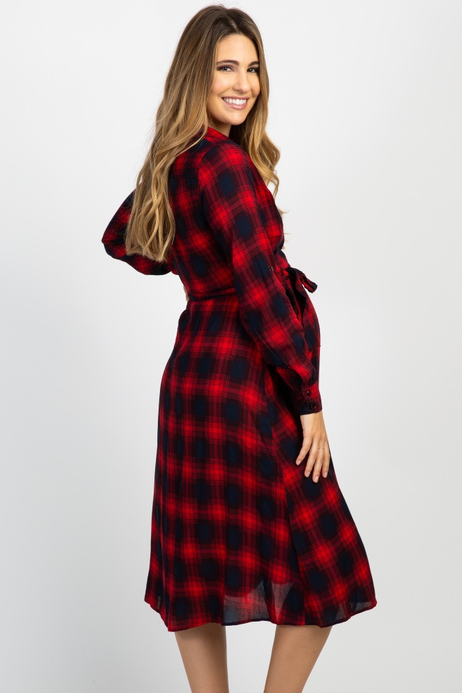 88f53ae4 Red Plaid Floral Embroidered Maternity Wrap Midi Dress