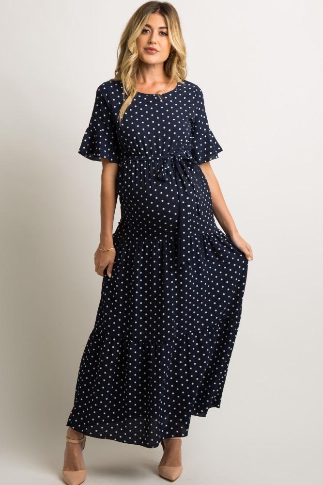 6851cfae864ac Navy Polka Dot Flounce Tiered Maternity Maxi Dress