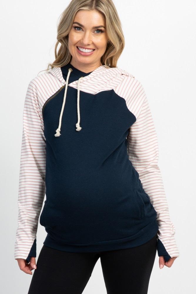 9f78201d Navy Striped Colorblock Raglan Maternity Hoodie