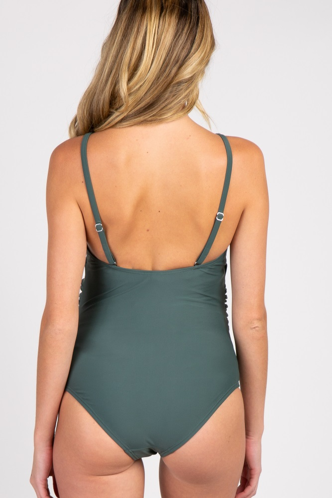 d53609e4f5d Green Scoop Front Low Back Ruched One-Piece Maternity Swimsuit