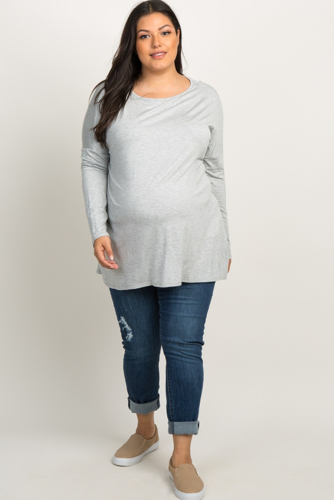 d85d346e51bff Heather Grey Solid Basic Dolman Sleeve Plus Maternity Top
