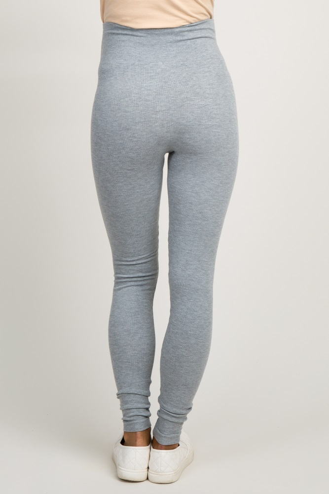 suitable for men/women attractivedesigns a few days away Heather Grey Ribbed Knit Maternity Leggings