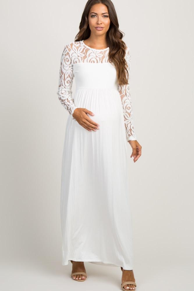 ee699482e7d Ivory Lace Sleeve Maternity Maxi Dress