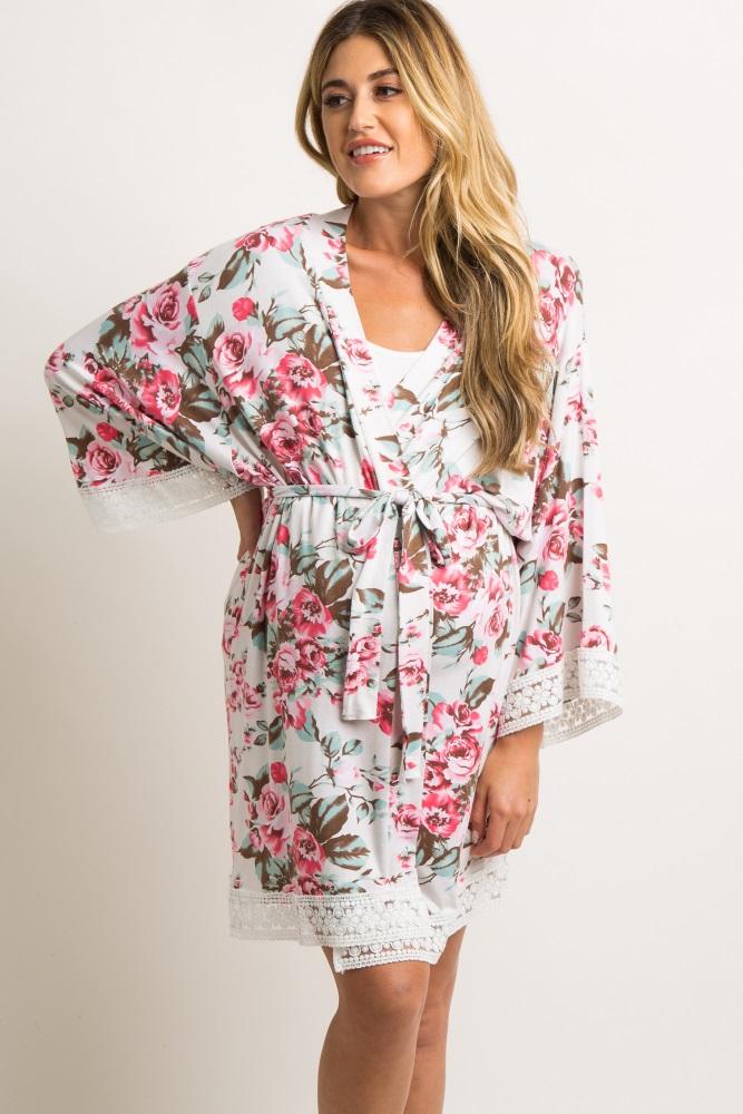 5cbd09d075b Ivory Rose Floral Lace Trim Delivery Nursing Maternity Robe