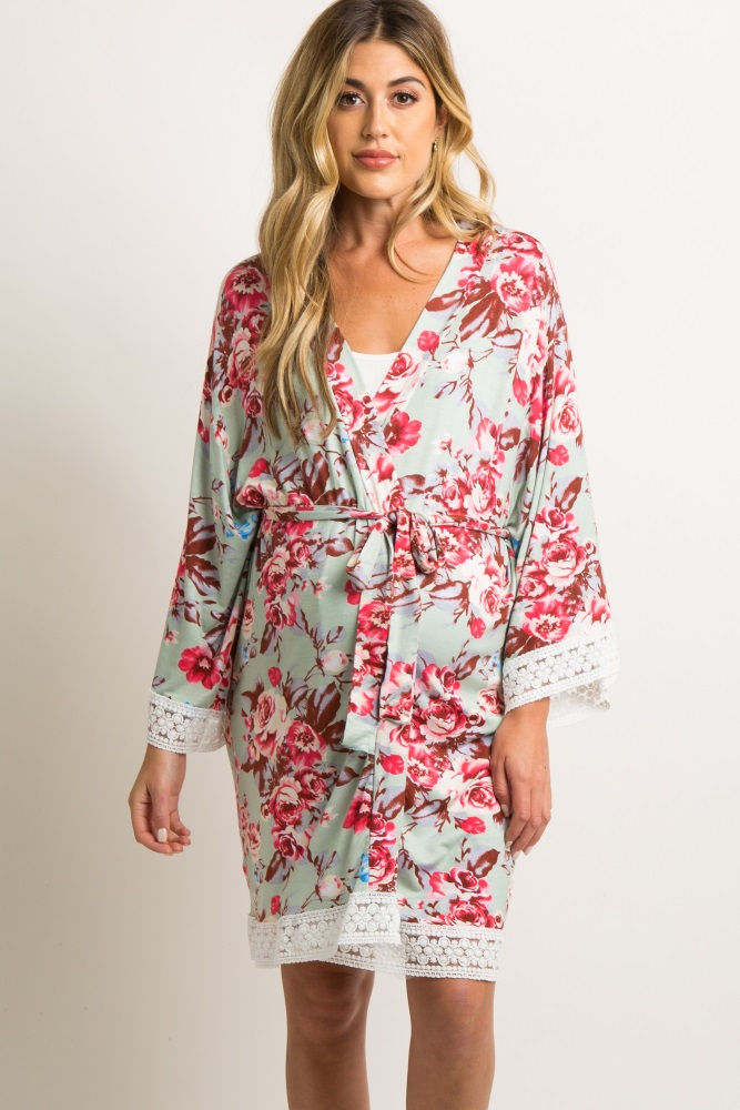 mint green floral lace trim delivery/nursing maternity robe