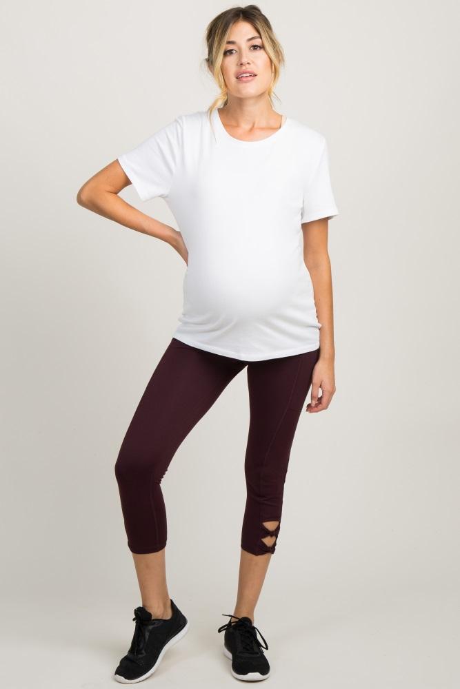 a8d2e61ddc6ca Burgundy Bow Cutout Capri Maternity Leggings