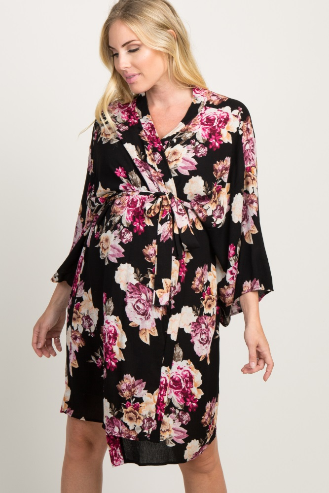 6f310bf9b89f5 Black Floral Delivery/Nursing Maternity Robe