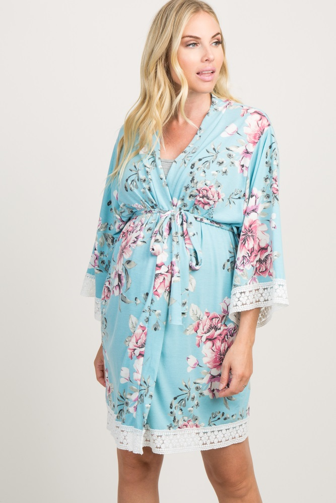 425a00bf393a1 Mint Floral Lace Trim Delivery/Nursing Maternity Robe