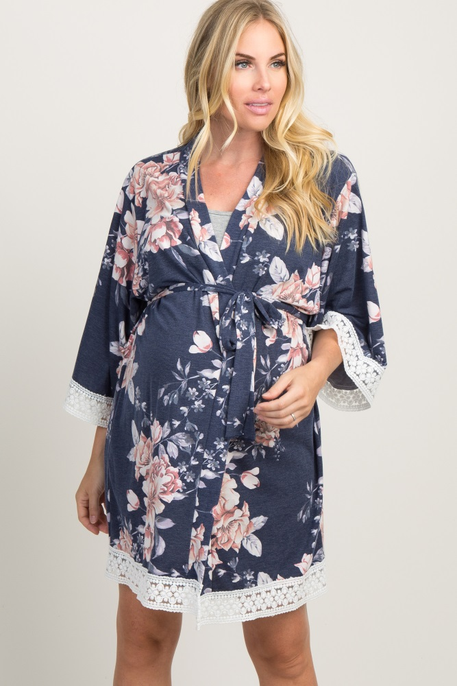 8d950828a9e84 Navy Faded Floral Lace Trim Maternity Delivery/Nursing Robe