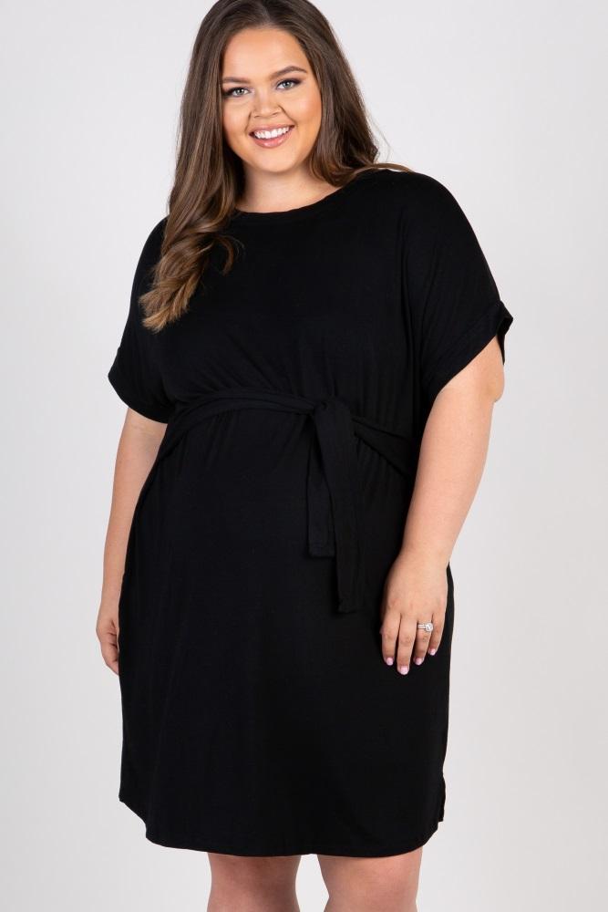 Black Tie Front Maternity Plus Shift Dress