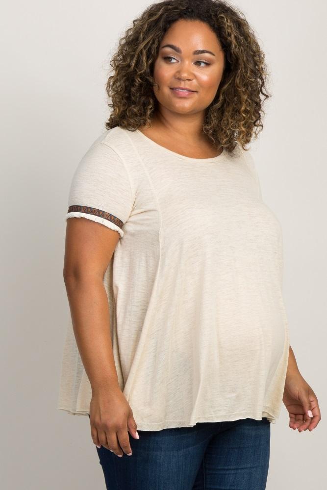 0886288155c Ivory Embroidered Fringe Trim Plus Maternity Top