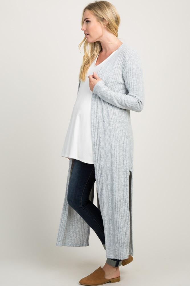 4164e040af6 Heather Grey Soft Knit Maternity Duster Cardigan