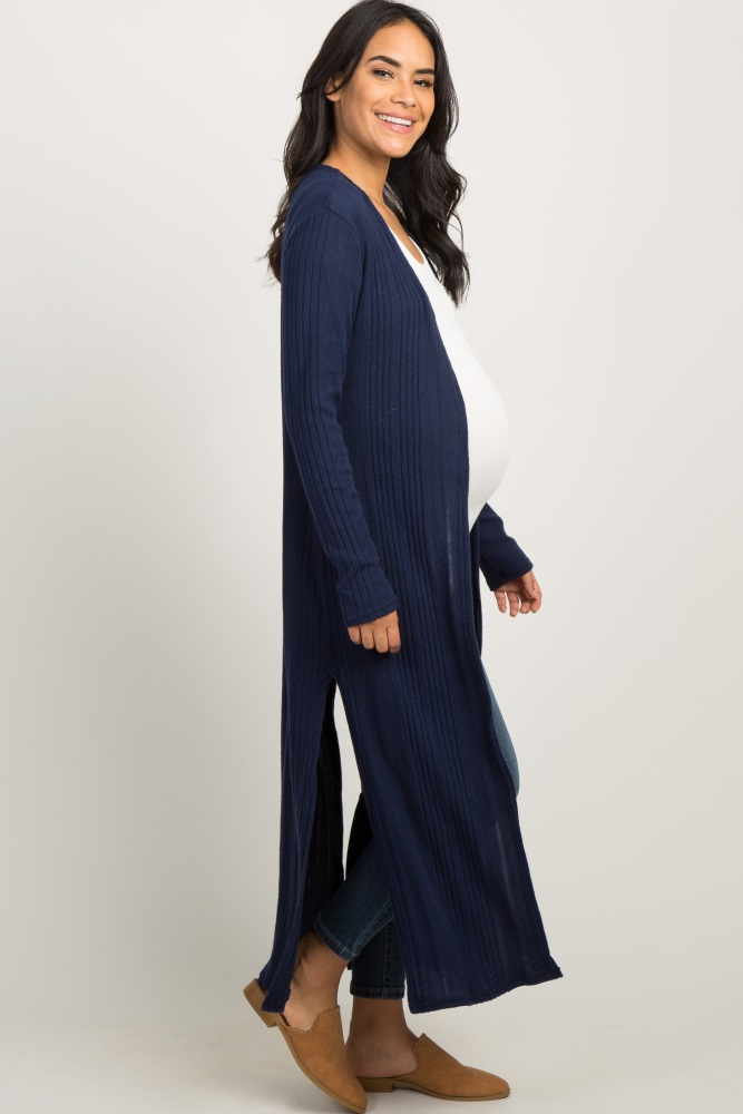 9204ac2090a Navy Blue Soft Knit Maternity Duster Cardigan