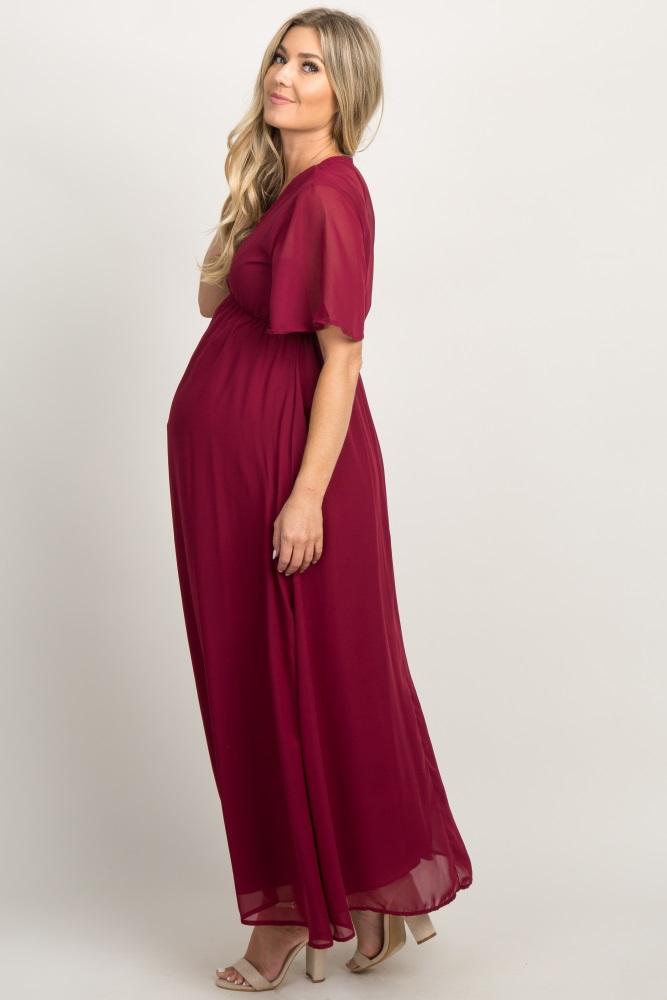 906feef6596 Burgundy Chiffon Bell Sleeve Maternity Maxi Dress