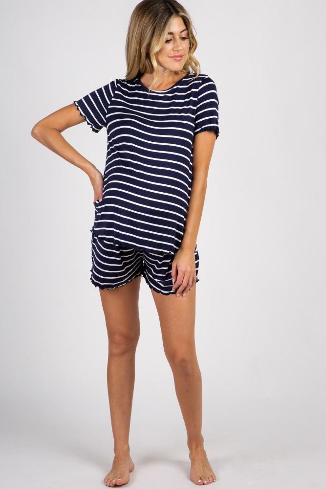 94d6a79776443 Navy Blue Striped Ruffle Trim Maternity Pajama Set