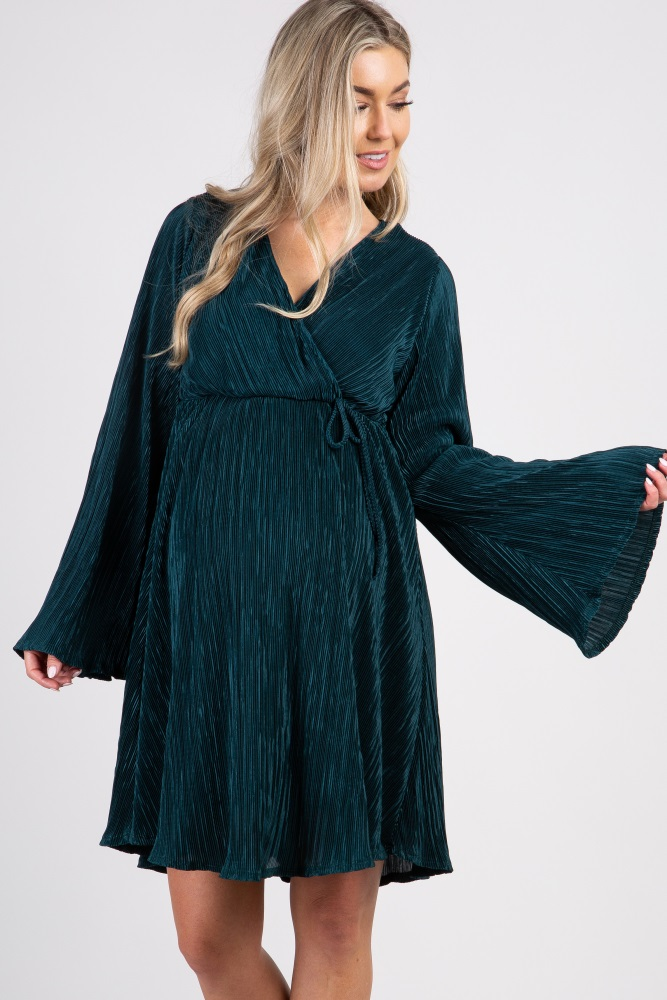 a837bb62a094 Green Pleated Chiffon Long Sleeve Maternity Wrap Dress