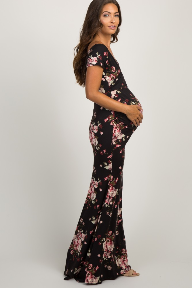 597322c423a1f Black Floral Off Shoulder Wrap Maternity Photoshoot Gown/Dress