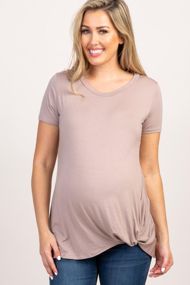 b34c7266ff7ac Mocha Solid Short Sleeve Knot Hem Maternity Top