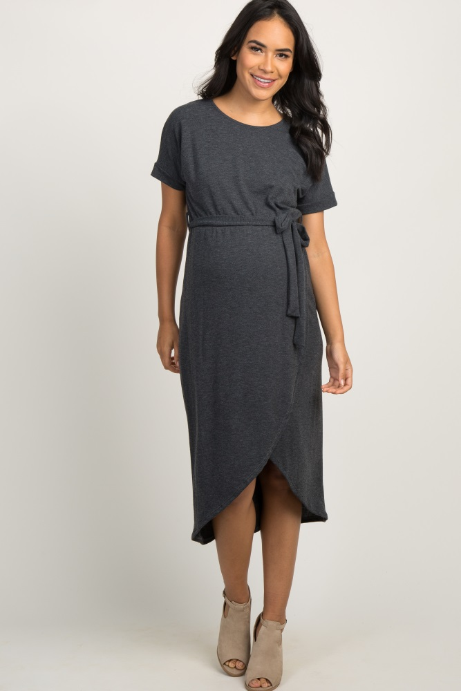 63c22923e0fe Charcoal Grey Heather Sash Tie Wrap Hem Maternity Midi Dress