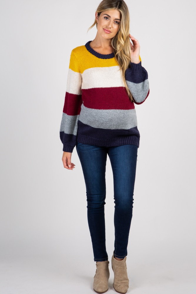 2a8ad7234db76 Yellow Colorblock Knit Puff Sleeve Maternity Sweater