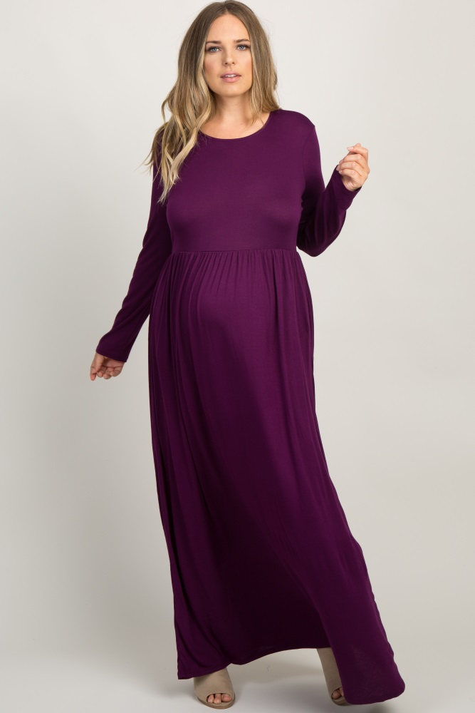 Plum Pleated Long Sleeve Plus Maternity Maxi Dress
