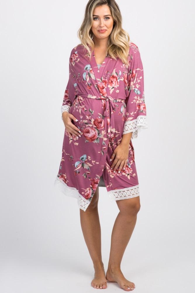 de7dbc72ea6 Mauve Rose Floral Lace Trim Delivery Nursing Maternity Robe