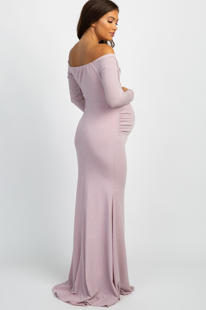 94493fd07f7 Pink Metallic Off Shoulder Long Sleeve Wrap Maternity Photoshoot Gown Dress