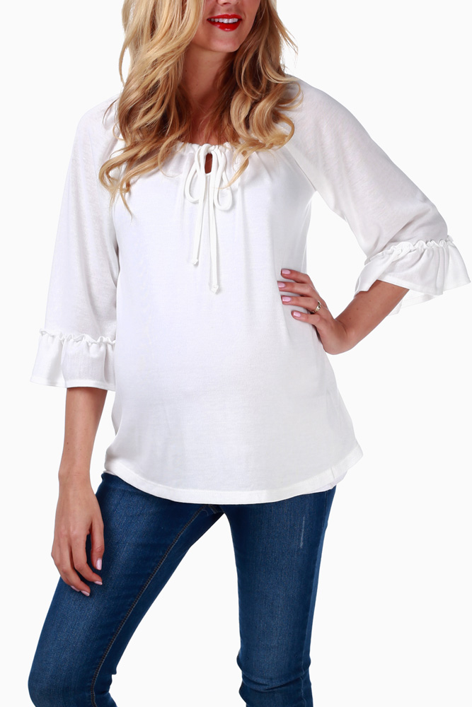 50475293a18 Ivory Flowy Maternity Top