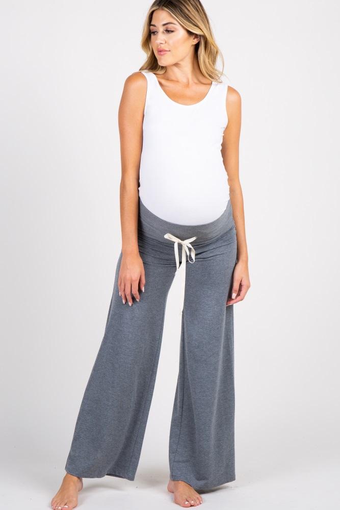charcoal drawstring foldover maternity lounge pants