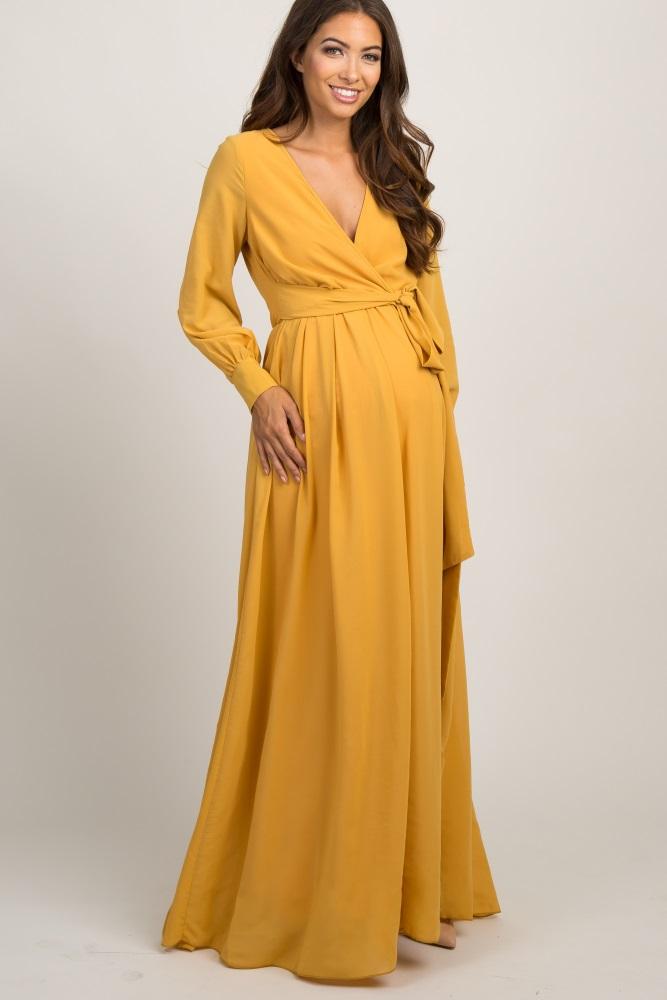 3b7436aeb447 Yellow Chiffon Long Sleeve Pleated Maternity Maxi Dress