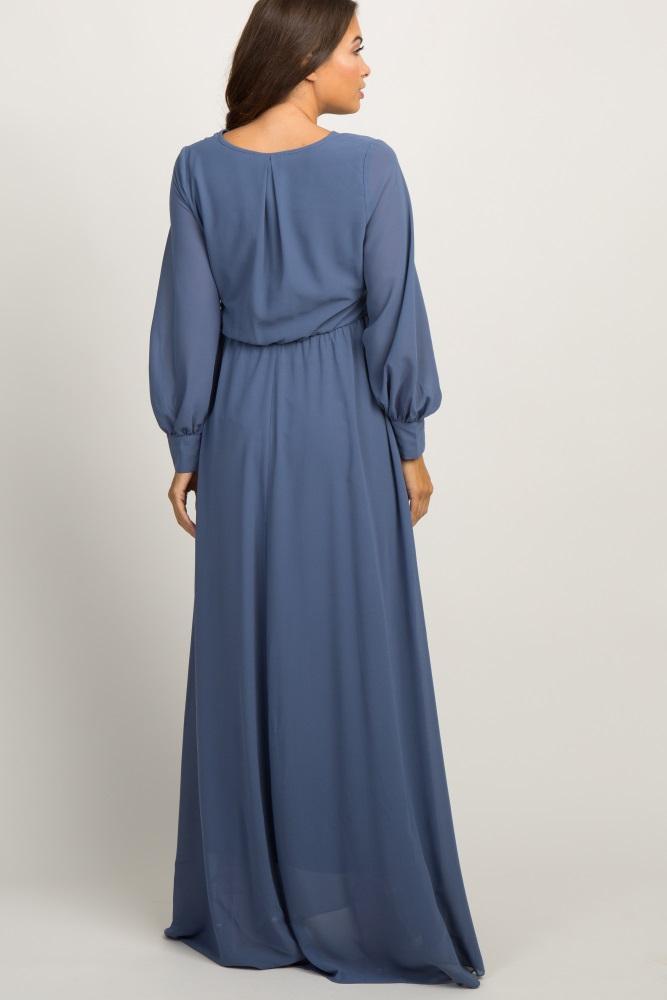1c03e4ba1e6 Blue Chiffon Long Sleeve Pleated Maternity Maxi Dress