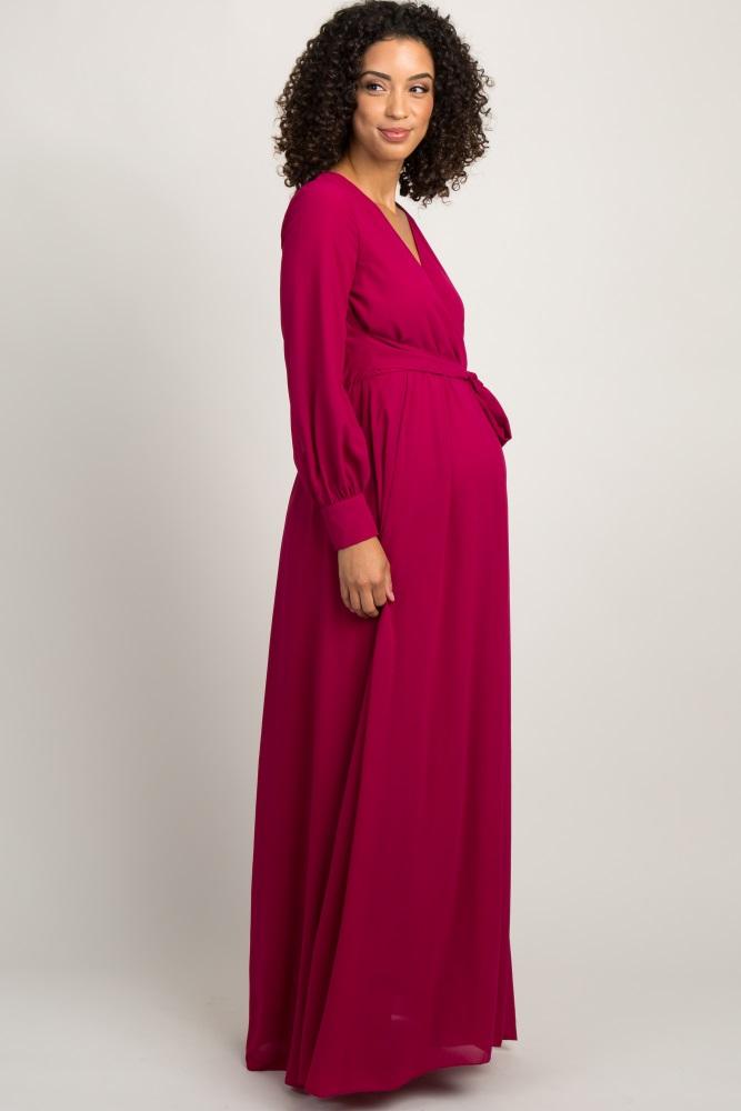 e6cc7019522d Fuchsia Chiffon Long Sleeve Pleated Maternity Maxi Dress