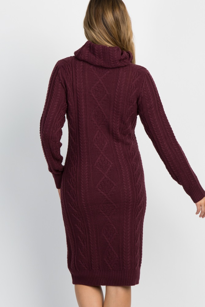 51aee7092f3 Burgundy Cable Knit Cowl Neck Maternity Sweater Dress